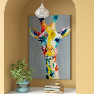 Colorful Giraffe Painting Print On Wred Canvas