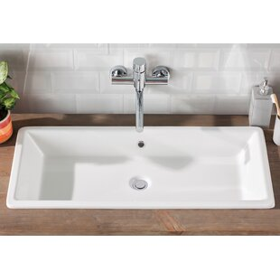 Scarabeo by Nameeks Gaia Ceramic Rectangular Vessel Bathroom Sink with Overflow