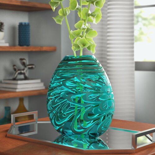 Wrought Studio Orr Turquoise Glass Table Vase Reviews Wayfair