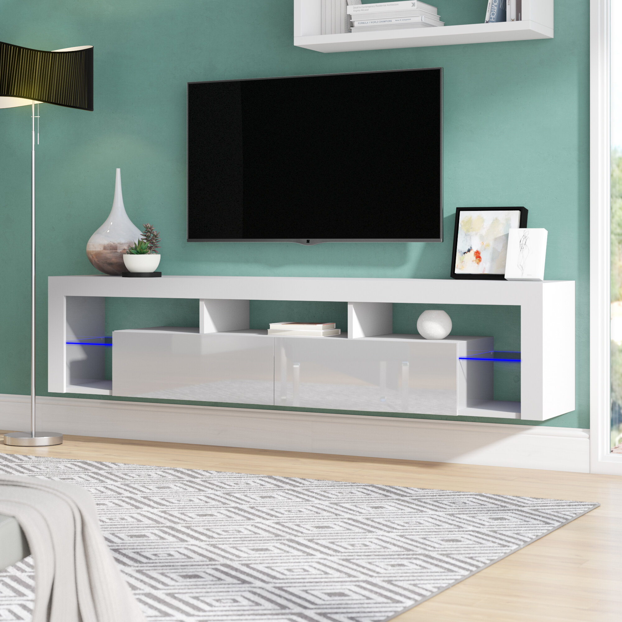 Orren Ellis Bottcher Wall Mounted Floating Tv Stand For Tvs Up To 88