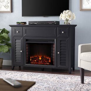CherryWood TV Stand with Electric Fireplace Alcott Hill