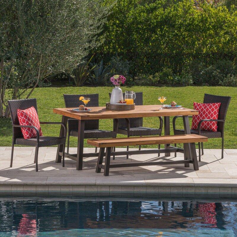 Oren Outdoor 6 Piece Wicker Dining Set