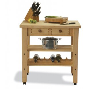 Arts and Crafts Kitchen Island with Butcher Block Top by Snow River