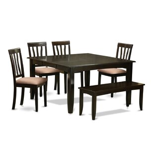 Pilning 6 Piece Extendable Solid Wood Breakfast Nook Dining Set