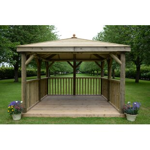3.5m X 3.5m  Wooden Gazebo With Timber Roof By Sol 72 Outdoor