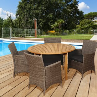 Beachcrest Home Elsmere 5 Piece Teak Dining Set With Cushions