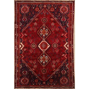 One-of-a-Kind Mcmakin Shiraz Qashqai Vintage Persian Hand-Knotted 7' x 10'4 Wool Burgundy/Black Area Rug Isabelline