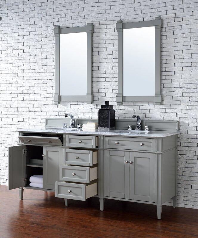 Deleon Traditional 72 Double Urban Gray Stone Top Bathroom Vanity Set