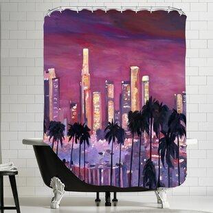 Markus Bleichner Chasteen Los Angelese Golden Skyline 3 Single Shower Curtain