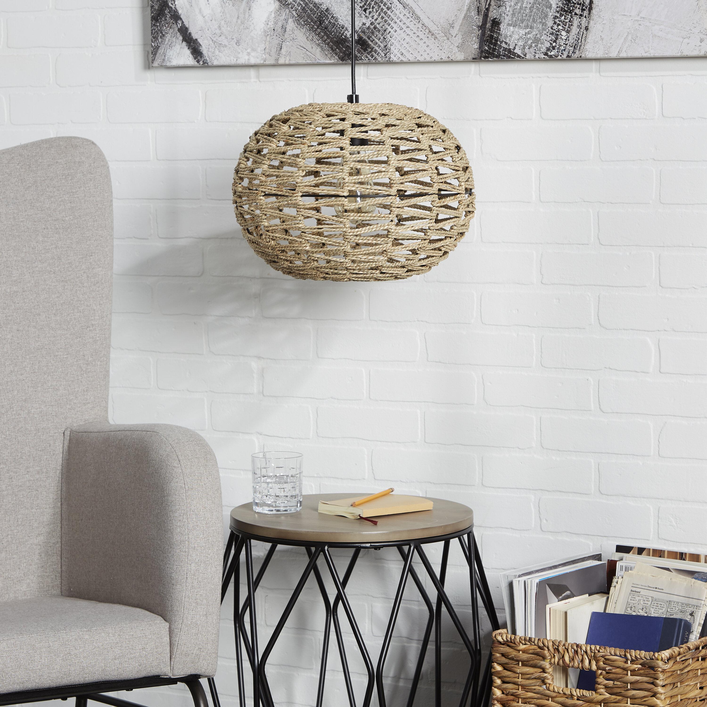 Highland Dunes Hodgdon 1 Light Single Globe Pendant With Rope Accents Reviews Wayfair
