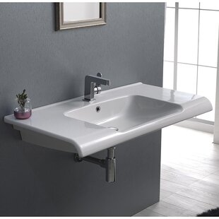 CeraStyle by Nameeks Anova Ceramic Rectangular Drop-In Bathroom Sink with ..