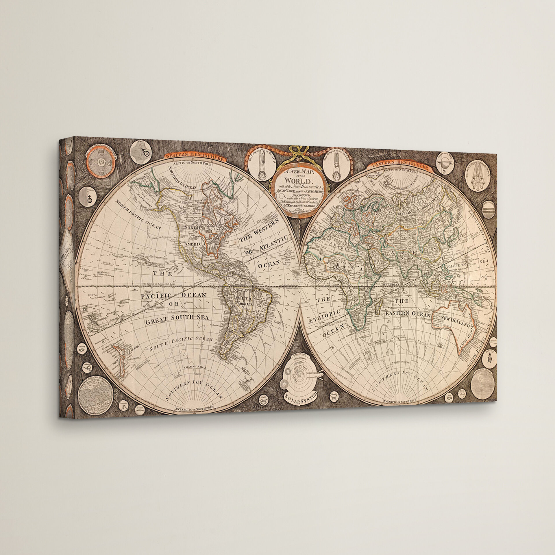Bay Isle Home A New Map Of The World Framed Graphic Art On Wrapped Canvas Reviews Wayfair