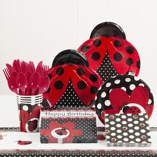 81 Piece Ladybug Fancy Birthday Paper/Plastic Tableware Set
