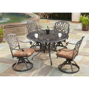 One Allium Way Dwight 5 Piece Dining Set with Cushions