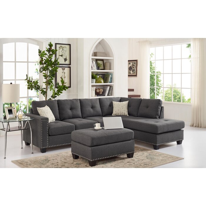 Excellent Menendez Reversible Sectional With Ottoman Gmtry Best Dining Table And Chair Ideas Images Gmtryco