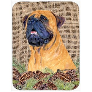Bullmastiff and Pine Cone Glass Cutting Board By East Urban Home