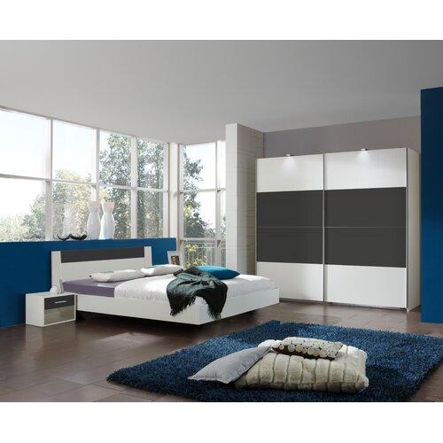 4-tlg. Schlafzimmer-Set Ilona | Schlafzimmer > Komplett-Schlafzimmer | Alpinweiß/anthrazit | Leinen | Wimex