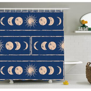 Grungy Ethnic Design of Planetary with Sun Moon Phases of Mystery Shower Curtain Set ByAmbesonne
