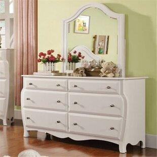 Suwanee 6 Drawer Double Dresser with Mirror by Harriet Bee
