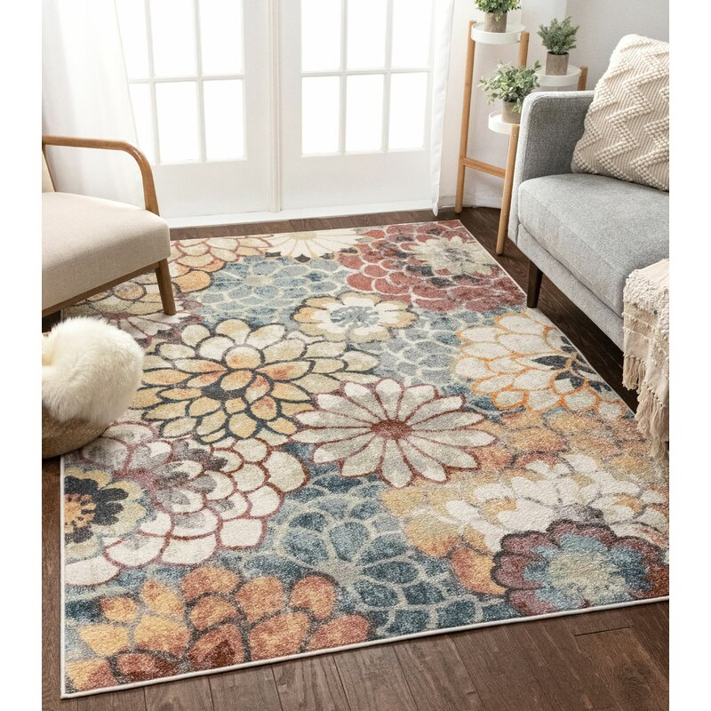 Well Woven Rodeo Floral Blue Area Rug Reviews Wayfair