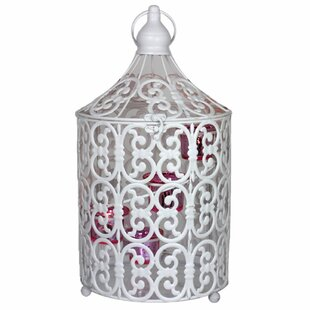 Snowy Bird Caged Metal Lantern