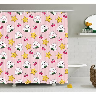 Lucinda Striped Cartoon Shower Curtain
