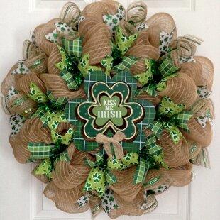 Door Wreath Door Deco Wreath Patrick/'s Day Wreath Patricks Day Mesh Wreath St Clover Wreath Free Shipping St Irish Wreath
