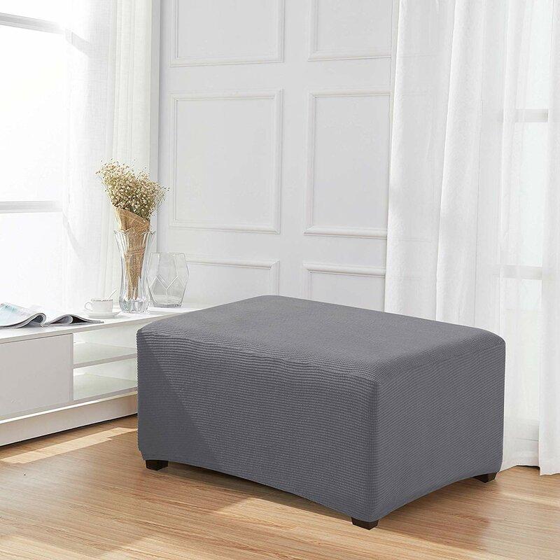 Stretch Spandex Jacquard Rectangle Folding Box Cushion Ottoman Slipcover