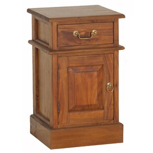 NES Furniture Charlotte Fine Handcrafted Solid Mahogany Wood 1 Drawer Nightstand
