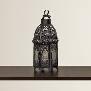 Bungalow Rose Ulloa Glass and Metal Lantern
