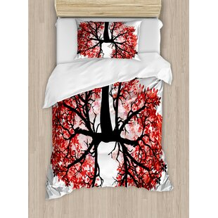 Modern Eco Environment Themed Human Lung Shaped Floral Tree Healthy Lifestyle Nature Print Duvet Set by Ambesonne