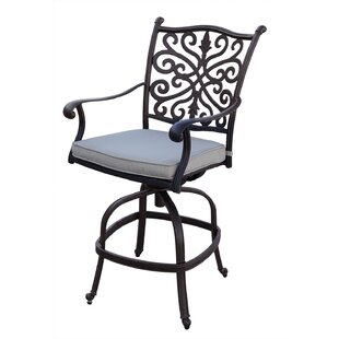 Burgin Counter Height Swivel Patio Bar Stool with Cushion (Set of 4) by Canora Grey
