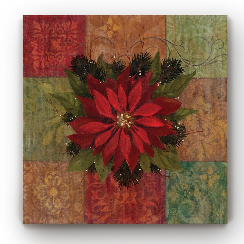 '9 Patch Poinsettia' Wrapped Canvas Graphic Art on Canvas