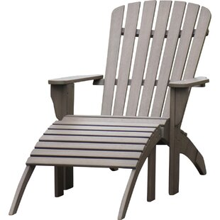 Cambridge Casual Renley Solid Wood Adirondack Chair with Ottoman