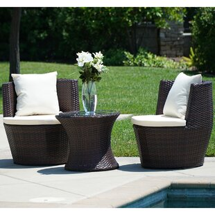 Wrought Studio Helvey 3 Piece Conversation Set with Cushions