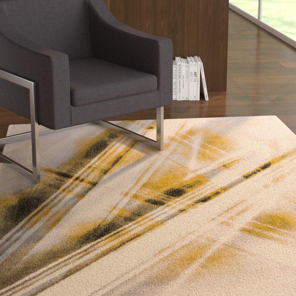 Ebern Designs Devanna Stripes Modern Beige Area Rug Wayfair Ca