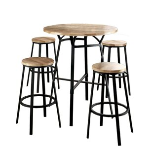 Camile 5 Piece Solid Wood Pub Table Set