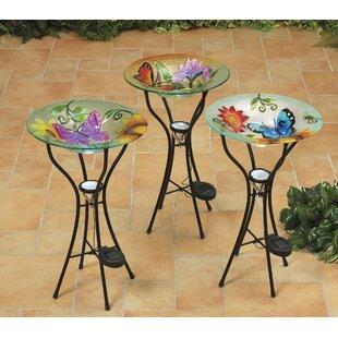 Gerson International 3 Piece Butterfly Decorative Tray Bird Feeder Set