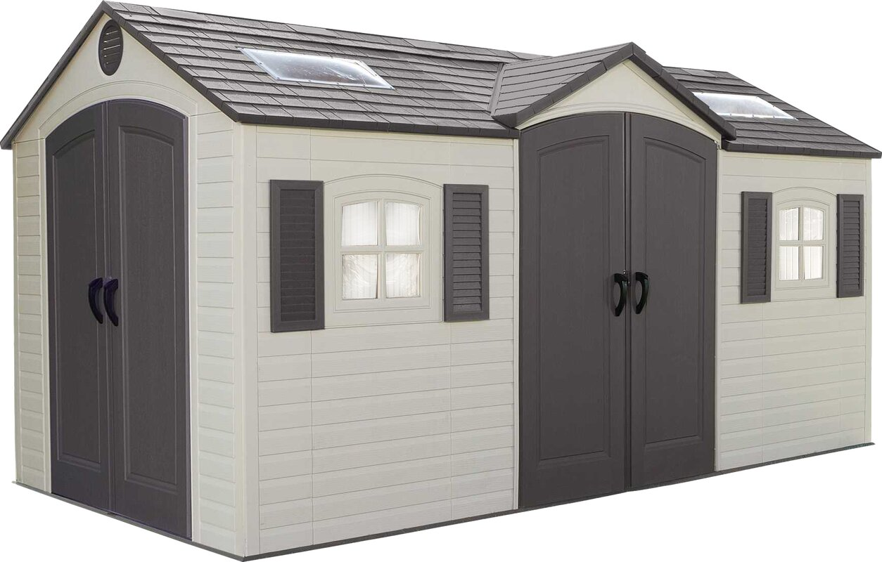 dual entry 7 ft 9 in w x 15 ft d plastic storage - Garden Sheds 7 X 9