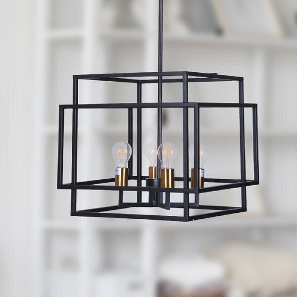 Ebern Designs Sankertown 4 Light Lantern Rectangle Chandelier Reviews Wayfair