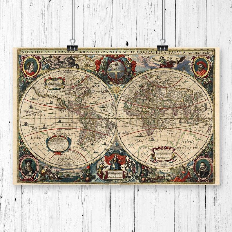 Big box art henricus hondius ii vintage world map graphic art henricus hondius ii vintage world map graphic art gumiabroncs Choice Image