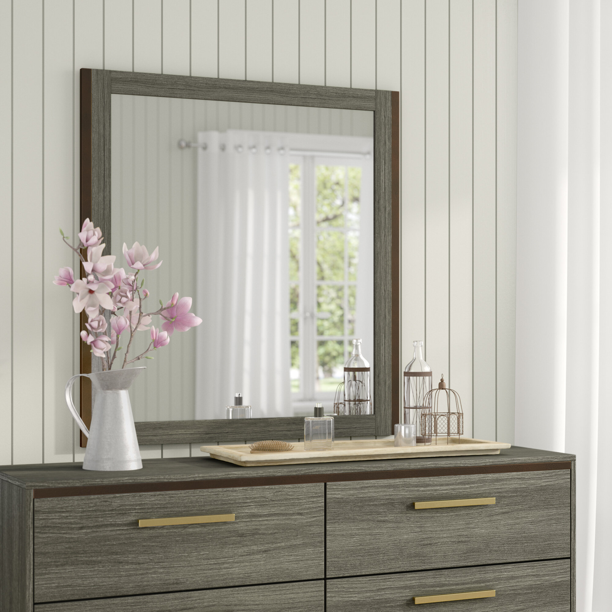 Adam Rectangular Traditional Distressed Dresser Mirror