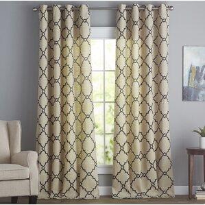 Winnett Geometric Semi Sheer Grommet Single Curtain Panel