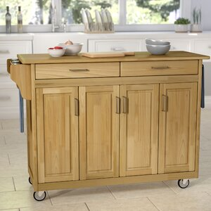Regiene Kitchen Island with Natural Wood