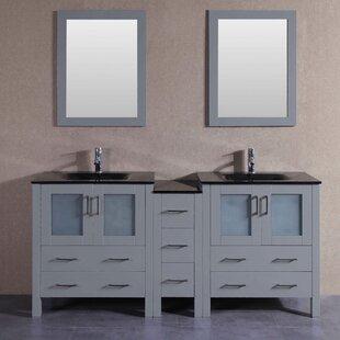 Levi 71 Double Bathroom Vanity Set with Mirror by Bosconi