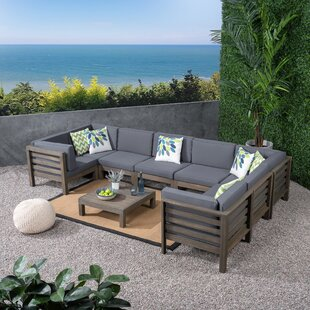 Seaham 9 Piece Teak Sectional Seating Group with Cushions by Brayden Studio
