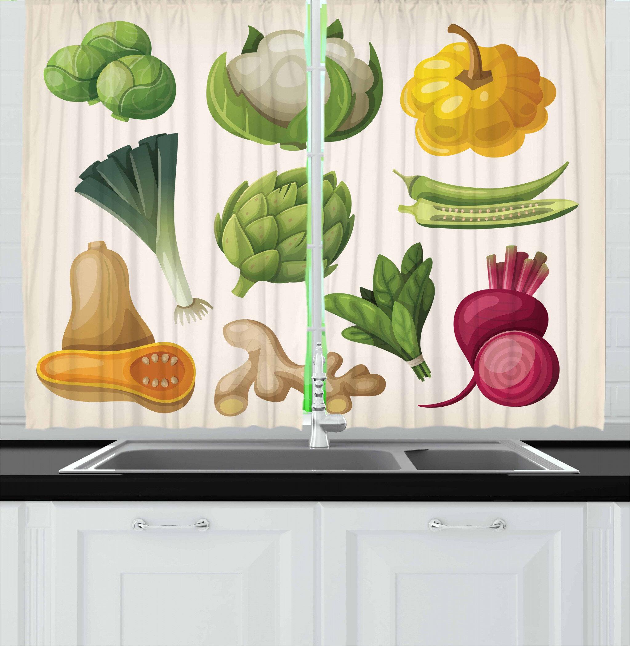 East Urban Home Vegetable 2 Piece Kitchen Curtain Set Wayfair