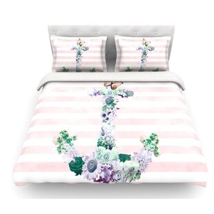 Floral Anchor by Nika Martinez Stripes Featherweight Duvet Cover