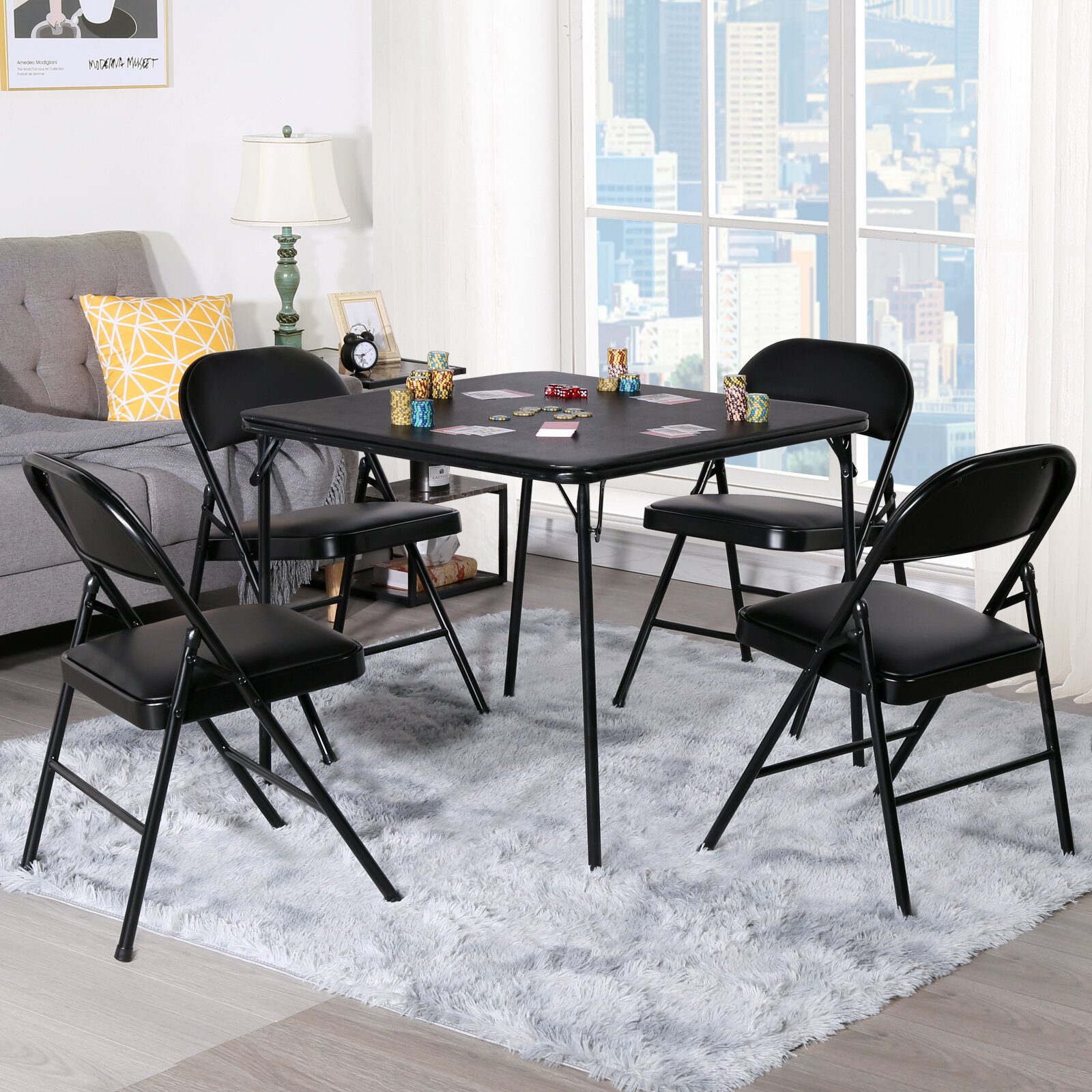 "Vecelo 33.8"" 4 - Player Card Table with Chairs 