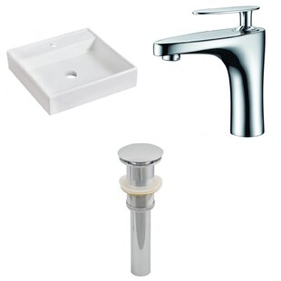 Big Save Ceramic Square Bathroom Sink with Faucet By American Imaginations